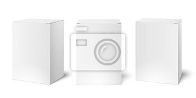 Naklejka Biały pusty kartonowy pudełko pakuje mockup. Medycyna 3d realistyczny pudełko pakuje wektorowego ilustracyjnego szablon