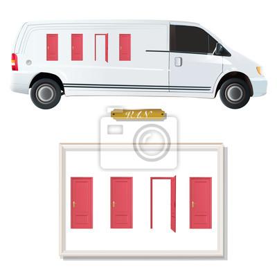 Biały van z czerwonymi drzwiami.