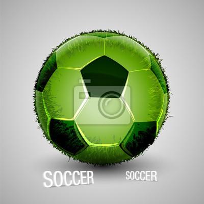 biały, zielony, trawy, piłka nożna