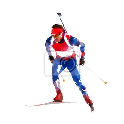 Biathlon ściga się, narciarka w błękitnym i czerwonym bydle, abstrakcjonistyczna geometryczna ilustracja