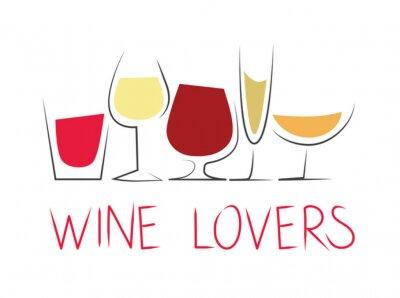 Naklejka Bicchieri di vino differenti con dicitura