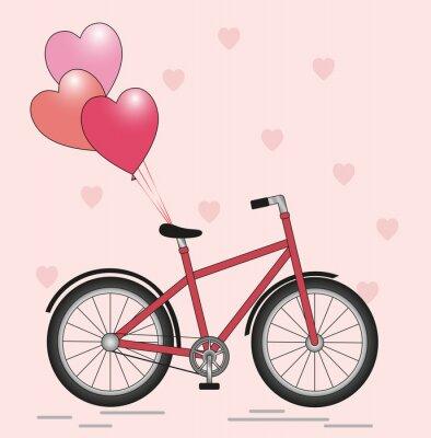 Naklejka Bicycle with balloons