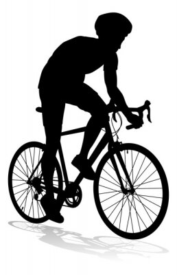 Bicyclist riding their bike and wearing a safety helmet in silhouette