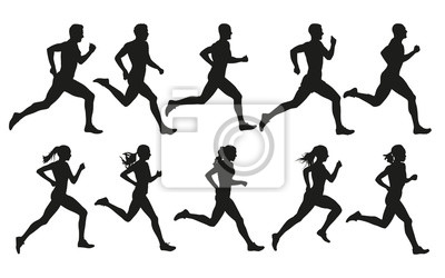 Naklejka Biegać. Działający mężczyzna i kobiety, wektorowy ustawiający odosobnione sylwetki