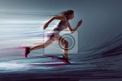 Naklejka Biegacz z surrealistycznymi efektami świetlnymi