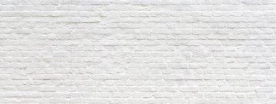 Naklejka Biel malujący stary ściana z cegieł panoramiczny tło