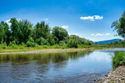 Naklejka Bielsko Biala, Poland: Sola river near Wieprz originates in the Western Beskids mountain range near the border with Slovakia.