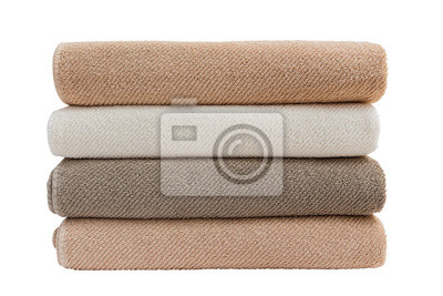 Big bath towels in stack isolated over white