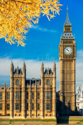 Naklejka Big Ben i House of Parliament, Londyn, Wielka Brytania.