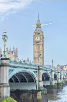 Naklejka Big Ben z Westminster Bridge i rzeki Tamizy w Londynie