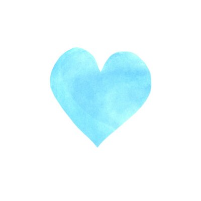 Big blue watercolor heart isolated on white background. Valentines day hand drawn background with space for text. Heart shape watercolour template. Design element
