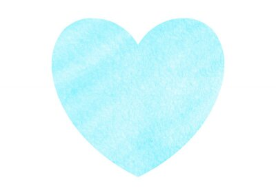 Big blue watercolor heart isolated on white background. Valentines day hand drawn background with space for text. Heart shape watercolour template. Design element.