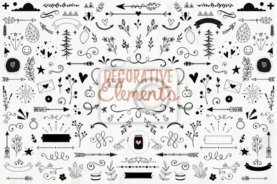 Naklejka Big collection of decorative elements: banners, arrows, leaves, flowers, flourishes