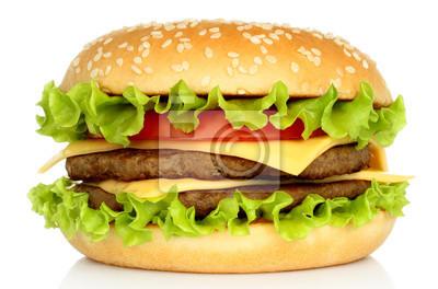 Naklejka Big hamburger na białym tle