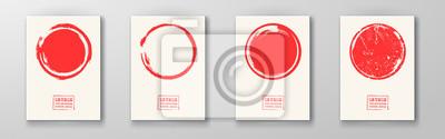Naklejka Big red grunge circle on white backgrounds set.