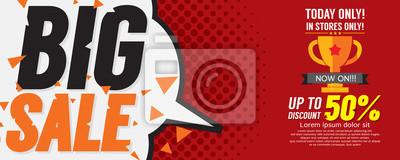 Naklejka Big Sale 50 Percent 6250x2500 pikseli banner Vector ilustracji.