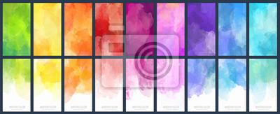 Naklejka Big set of bright vector colorful watercolor background for poster, brochure or flyer