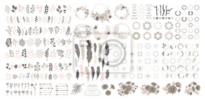 Naklejka Big set with wreath, design elements, frames, calligraphic. Vector floral illustration with branches, berries, feathers and leaves. Nature frame on white background.