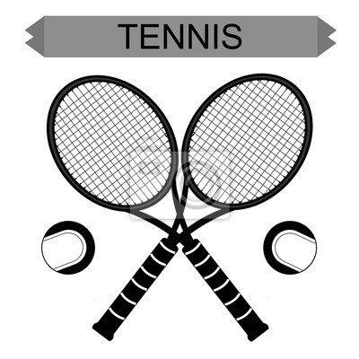 Big tennis rackets with tennis ball