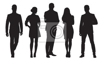 Naklejka Biznes mężczyźni i kobiety, grupa ludzi w pracy. Sylwetki na białym tle wektor