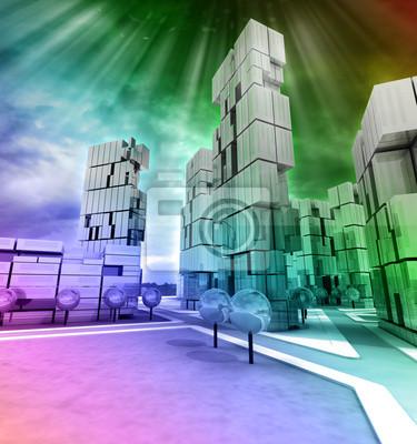 Biznes nowoczesne miasto Rainbow kolorowe z flary