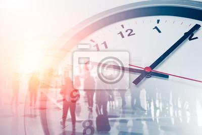 Naklejka Biznes razy pojęcia ludzie chodzenie nakładki z zegarem czasu