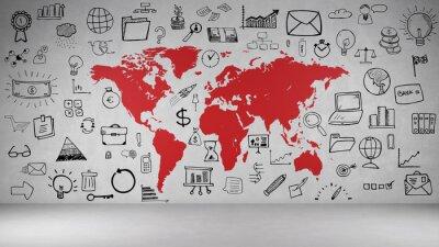 Naklejka Biznes Symbole Wand mit Weltkarte