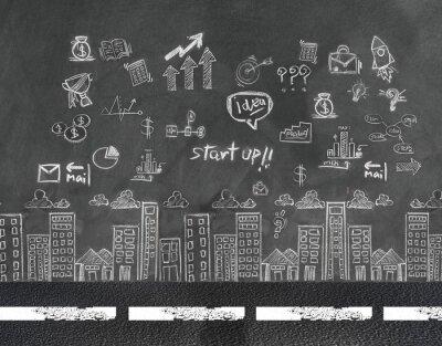 Biznesmen i biznes pojęcie koncepcji na ścianie