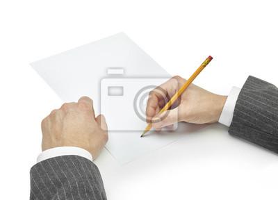 Naklejka biznesmen pisanie na papierze