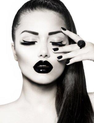 Black and White Brunette Girl Portret. Trendy Manicure Caviar