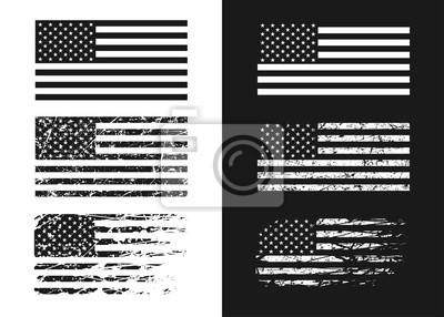 Naklejka Black and white USA flags