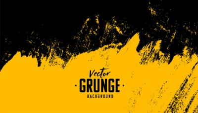Naklejka black and yellow abstract dirty grunge background