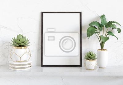 Naklejka Black frame leaning on white shelve in bright interior with plants and decorations mockup 3D rendering