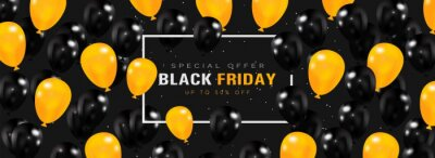 Black friday sale banner with black and yellow balloons