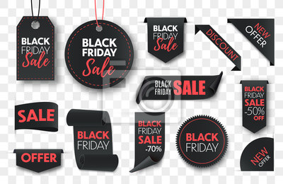 Naklejka Black friday sale ribbon banners collection isolated. Vector price tags isolated on black background.