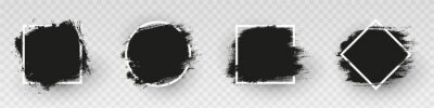 Naklejka Black grunge backgrounds with white frame. Dirty artistic design elements, frames for text. Paint, ink brush strokes, brushes splashes - stock vector.