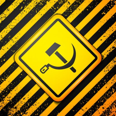 Black Hammer and sickle USSR icon isolated on yellow background. Symbol Soviet Union. Warning sign. Vector.