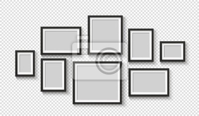 Naklejka Black photo frame on wall. Square frame set. Blank pictures. Vector decoration element. 3D poster with shadow for presentations