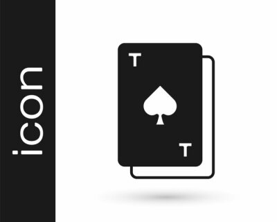Naklejka Black Playing card with spades symbol icon isolated on white background. Casino gambling. Vector