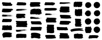 Naklejka Black set paint, ink brush, brush strokes, brushes, lines, frames, box, grungy. Grungy brushes collection. Brush stroke paint boxes on white background - stock vector.