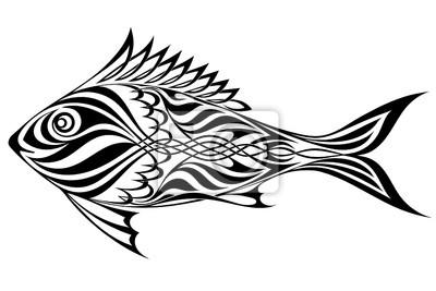 Naklejka Black silhouette of Fish on white background