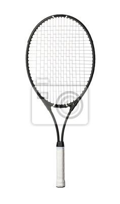 Naklejka Black tennis racket isolated on white background