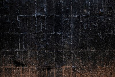 Black Tiled Soviet Wall Texture Surface. Old Dirty Rusty Rough Building.