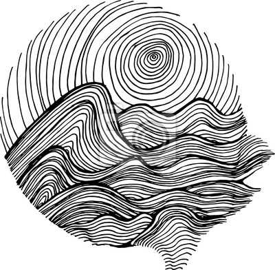 Naklejka Black white illustration of sea waves and sky in hatching style.