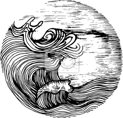 Naklejka Black white illustration of sea waves and sky in hatching style. Tattoo idea.