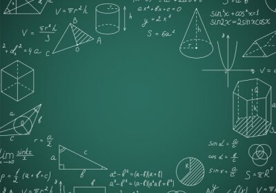 Naklejka Blackboard Mathematical with Thin Line Shapes Round Design Template. Vector