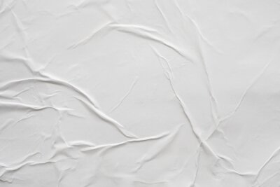 Naklejka Blank white crumpled and creased paper poster texture background
