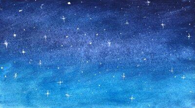 Naklejka Błękitny gwiaździsty niebo w akwareli