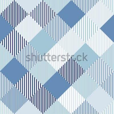 Naklejka Błękitny i biały abstrakcjonistyczny prosty checker paskował geometrycznego bezszwowego wzór, wektor