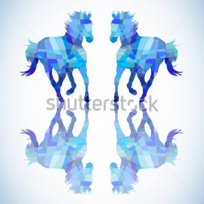 Naklejka Błękitny kształt konia geometryczne kształty
